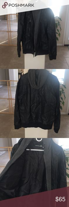 Leather Jacket with Hood Great condition Leather Jacket with hood Very warm and comfortable. Lightly used Size XL but should fit somebody who is a large no problem Jackets & Coats Bomber & Varsity