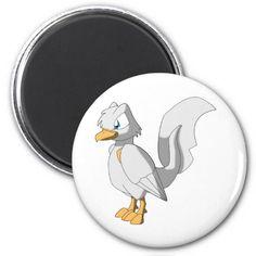 Koi Reptilian Bird - Platinum Ogon Refrigerator Magnets #zazzle #artofganenek #white #koi #reptilianbirds