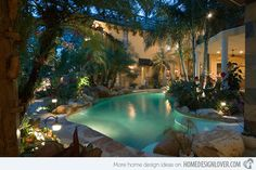 Definitely a more natural and tropical theme of swimming pool can be offered in our own backyard like this.