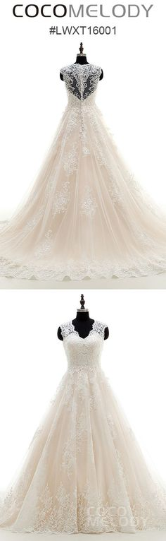 Most Popular A-line V-neck Wedding Dress With Meticulous Appliques LWXT16001 #cocomelody