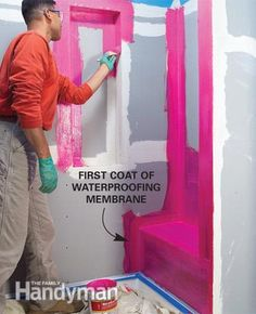 Tile a Shower: Waterproof it Coat water-prone areas with two coats of waterproofing membrane. Read more: http://www.familyhandyman.com/tiling/tile-installation/tile-a-shower/view-all