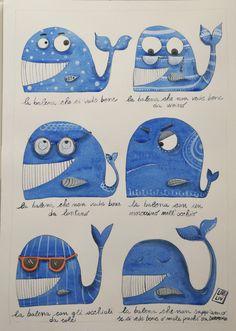 Illustrazione ad acquerello originale con balene , Illustration original watercolor with whales di LabLiu su Etsy