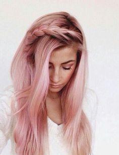 Pale pink hair, braided hair bangs, pretty pink hair