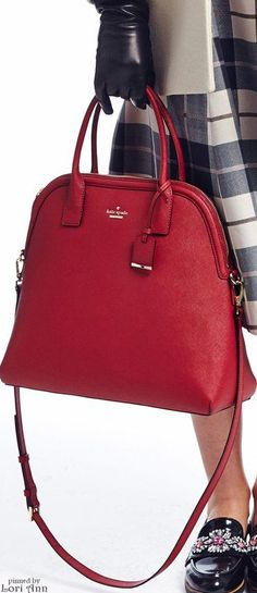 Kate Spade New York ~ Fall Red Leather Shopper Shoulder Bag 2015