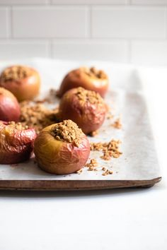 These vegan baked stuffed apples are a delicious, wholesome treat! Enjoy the benefits of whole fruit with a warm streusel filling. Vegan Breakfast Recipes, Vegan Snacks, Healthy Treats, Vegan Desserts, Vegan Food, Vegetarian Recipes, Baked Stuffed Apples, Baked Apples, Plant Based Diet