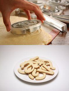 helvetica cookie cutters!