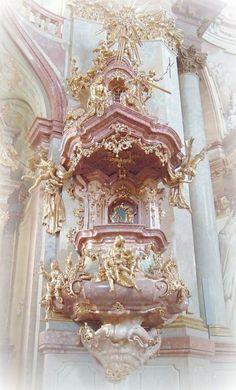 Ideas for wallpaper pink gold beautiful Baroque Architecture, Beautiful Architecture, Beautiful Buildings, Angel Aesthetic, Aesthetic Vintage, Pink Aesthetic, Princess Aesthetic, Renaissance Art, Aesthetic Pictures