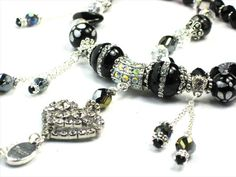 Silver & Crystal Trust ing Heart, Black Onyx & AB Swarovski Crystal by Chris of FantasyDesign, $175.00