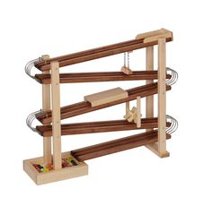 Amish-Made Deluxe Wooden Marble Flyer Racetrack Toy