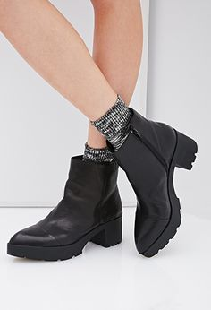 Size 7.5 Leather Platform Booties | FOREVER21 - 2000118128