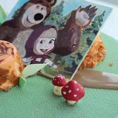 """Шоколадная открытка """"Маша и медведь"""" и шоколадные грибочки 😆"""