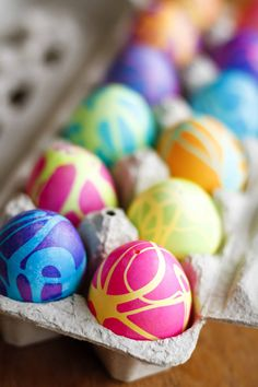 Coloring Easter eggs with rubber cement and gel food coloring produces some spectacularly high contrast, gorgeous abstract designs!