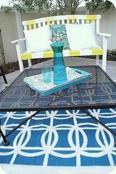 DYI rug with spray paint.