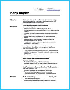 Audio Engineer Resume Dancer Resumes With Education  Httptopresumedancer