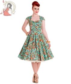 Hell Bunny 50's Sasha Sugar Skull Dress Floral Idaho Turquoise
