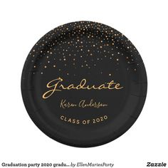 Shop Graduation party 2020 graduate black gold paper plate created by EllenMariesParty. Personalize it with photos & text or purchase as is! Black And Gold Cake, Black Gold Party, Purple Gold, Graduation Party Supplies, College Graduation Gifts, Graduation Celebration, Black And Gold Party Decorations, Paper Decorations, Gold Paper