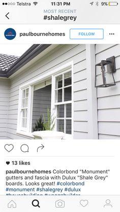 Dulux Exterior Paint, Grey Exterior, House Paint Exterior, Shale Grey, Facade House, Colour Schemes, Facades, Brick Wall, Paint Ideas