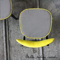 """Chaise vintage des années 60 """"Pied de poule"""" - Mille m2"""