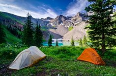 Camp at Lower Blue Lake. What a view this was. With all the rain over the month of July and early August this place was as green as it gets. Mt. Sneffels Wilderness Ridgway Colorado