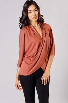 Check out this gorgeous drapey top! LOVING the cinnamon color! Very cute! Sizes: S-L