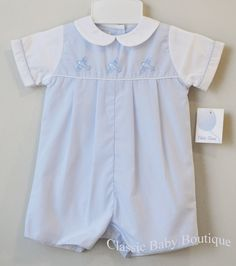 Collection Bebe Airplane Smocked Light Blue Long Sleeve Overall and Shirt