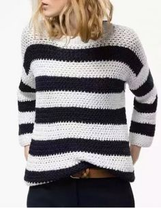 Casual Style Round Neck Long Sleeve Black and White Stripe Women's KnitwearSweaters & Cardigans   RoseGal.com