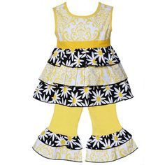 AnnLoren Boutique Girls Yellow Daisies and Damask Tunic 2-piece Set