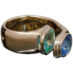 Jean Vendome | Jean Vendôme Sapphire Emerald gold Ring For Sale at 1stdibs
