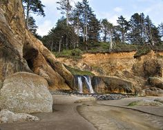 Waterfall At Hug Point. State Park Oregon Photograph
