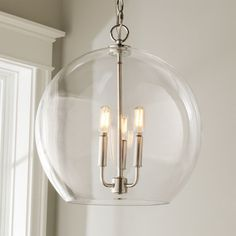 Clear Glass Sphere Chandelier polished_nickel - simple and pretty