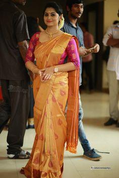 Amazing Yellow And Pink Color Khadi SIlk Saree – fabbaazar Saris, Engagement Saree, Pattu Saree Blouse Designs, Silk Saree Kanchipuram, Indian Silk Sarees, Saree Look, Elegant Saree, Fancy Sarees, Beautiful Saree