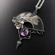 Violet motif Keum Boo relief fan silver pendant by KAZNESQ on Etsy