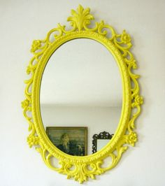 From the modern to the ornate, we love this Vintage Upcycled Mirror. #yellow #nursery  This is awesome ~ rp