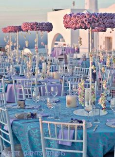 Wedding Dress photo by pxourafi on Weddingbee. A Lavender wedding under Santorinian sunset, by Elite Events Athens Santorini, August 2011 Baby Blue Weddings, Lilac Wedding, Fall Wedding, Dream Wedding, Lavender Weddings, Wedding Table Decorations, Wedding Themes, Wedding Centerpieces, Quinceanera