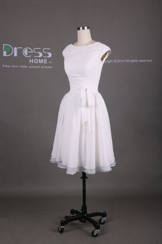 Simple White Cap Sleeve Knee Length Homecoming by DressHome