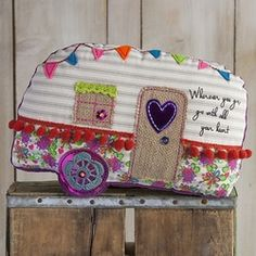 Camper Go With All Your Heart Boho Mattress Ticking Pillow
