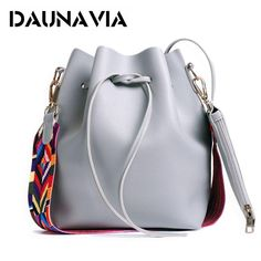 64e375955c07 DAUNAVIA ladies bag, PU leather shoulder bag color strap bucket package  ladies brand designer ladies Messenger shoulder packages