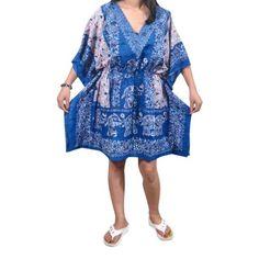a65885cf68d7f Mogul Interior - Mogul Women s Short Caftan Elephant Print Kaftan Beach  Cover Up Dress One Size - Walmart.com