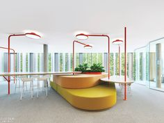 Airport Design Inspires Studio Alexander Fehre's Shared Desking System for an Open Office – Home office wallpaper Office Space Design, Office Interior Design, Office Interiors, Office Spaces, Space Interiors, Workplace Design, Library Design, Interior Design Magazine, Magazine Design