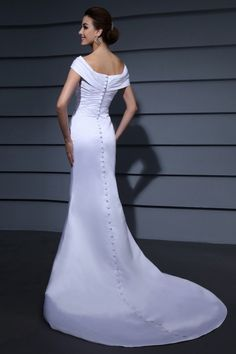 Mermaid Off-the-shoulder Pleated Beading Court Train Lace Wedding Dress