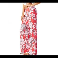 Damask Palazzo Pants - Made In USA. Palazzo pants design in watermelon and white. Gorgeous and unique, these pants are a comfy treat. Featuring wide legs for a flowing, lean line, no matter what your body type is these womens wide-leg jersey pants will keep you feeling comfortable and looking stylish with every step. They are long enough to wear with herls or fold the waist down a little further to shorten. Never worn. I have in closet but have not worn ever Damask Pants Wide Leg