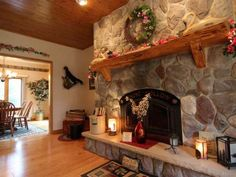 Amazing split -faced stone fireplace in a lake home on Snipe Lake in Eagle River -- MLS #141377 - 6207 Cloverleaf Ln, Eagle River, WI 54521