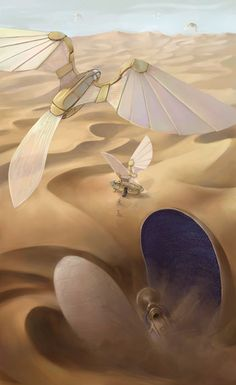 Dune +++ you have to go to a reclusive (or perhaps simply remote) group of people in the desert, and enlist the help of these sky engineers from the Islamic empire, who provide you with the transportation to get there Sci Fi Fantasy, Fantasy World, Alien Concept, Concept Art, Dune Frank Herbert, Dune Art, The Legend Of Heroes, Best Sci Fi, Ex Machina