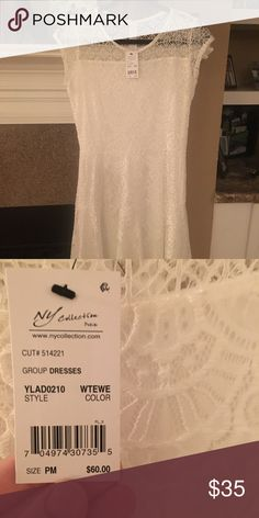 White, rehearsal dinner dress; never been worn! Comfortable white dress; great for bridal gatherings / rehearsal dinners / summertime NY Collection Dresses