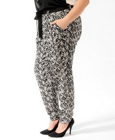 Abstract Chevron Pants w/Belt | FOREVER 21 - 2019572485