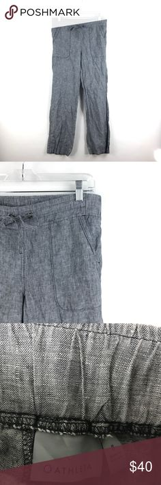 """Athleta Gray Chambray Linen pant Sz 8 757 Athleta Gray Chambray Linen Wide Leg Lounge Pants Size 8 Women's Elastic 757  Measurements: Waist: 16"""" Flat Across Rise: 8"""" Long Inseam: 29"""" Long  In good preowned condition with no known flaws and light overall wear. Athleta Pants Wide Leg"""