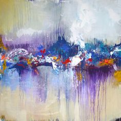 Original large abstract painting, abstract art, modern painting, blue purple creme, paintings, acrylic painting, landscape painting, canvas on Etsy, 300,00 €