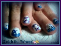 """A second pic of the nail art """"CAtch the WAves""""  Just loved it! :arcylic/glitter/and white base coat"""