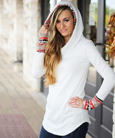 Look at this So Perla Ivory & Orange Tribal Accent Hoodie on #zulily today!