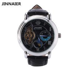 16.99$  Buy now - http://ali52c.shopchina.info/go.php?t=32799223497 - Mens watches automatic self-wind mechanical watch men business luxury brand leather strap quartz wristwatch 2017 skeleton clock   #buyonlinewebsite